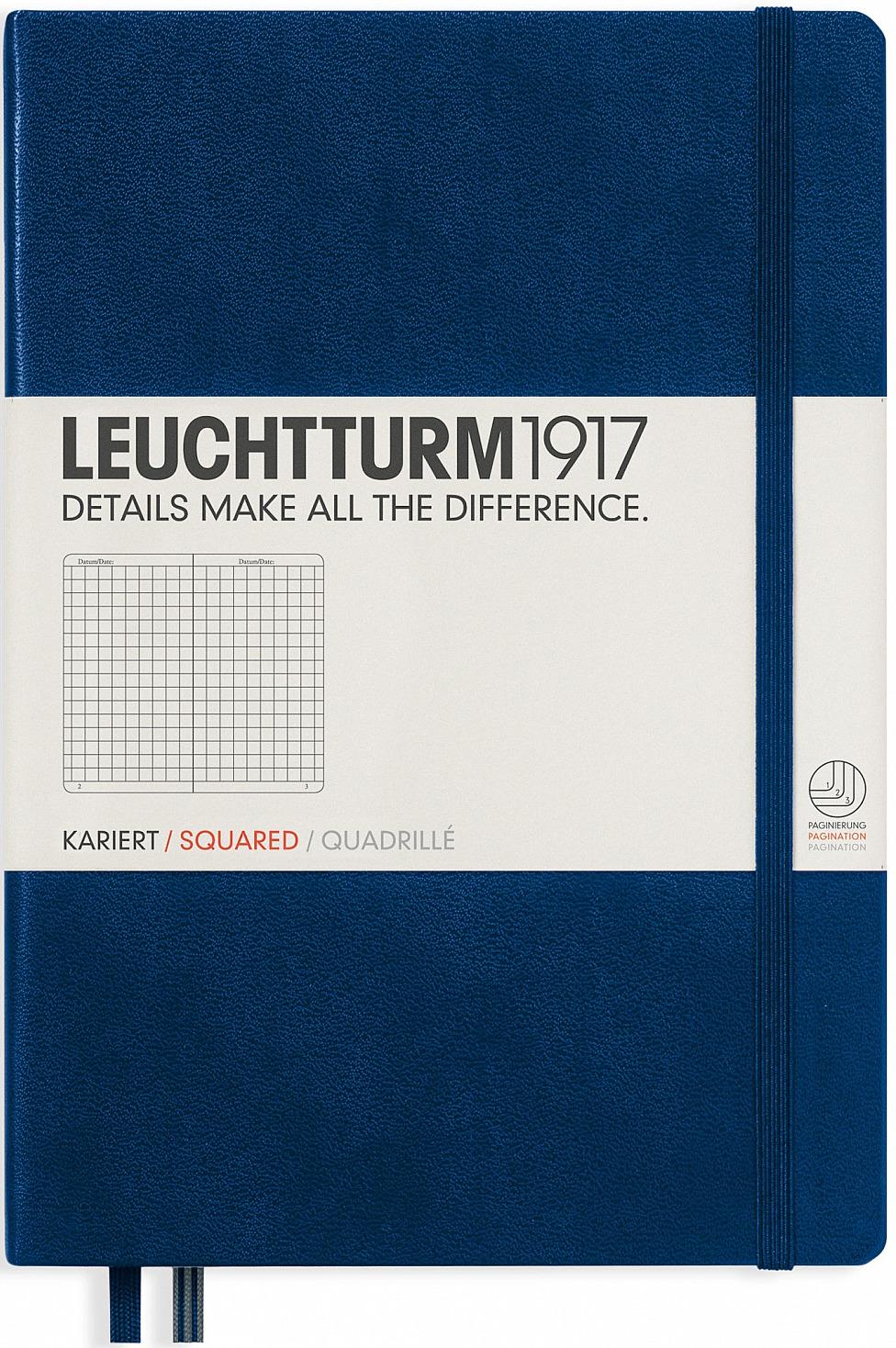 Записная книжка Leuchtturm1917, 342923, темно-синий, A5 (148 x 210 мм), в клетку, 125 листов