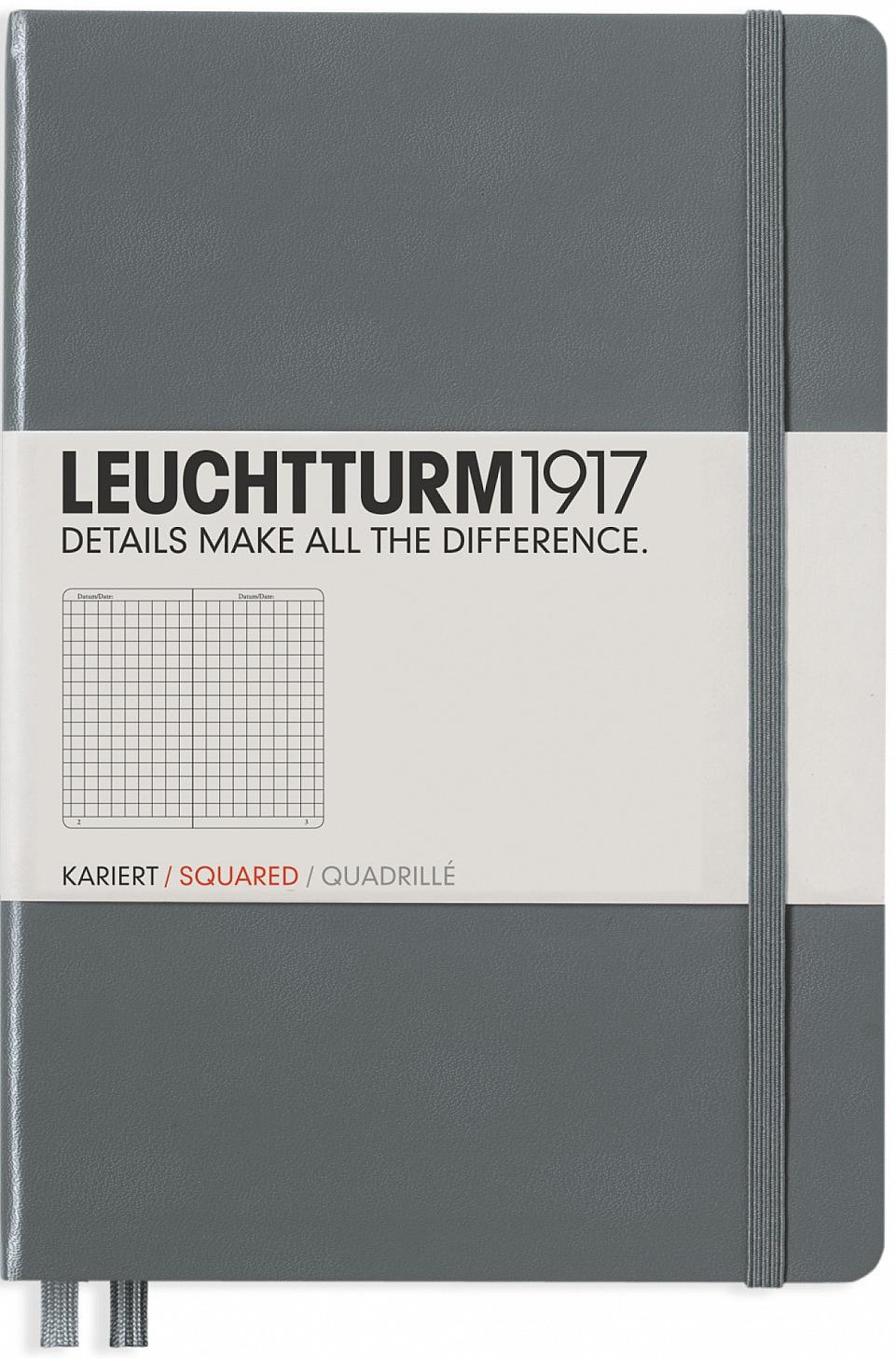 Leuchtturm1917 Записная книжка в клетку цвет антрацит 124 листа