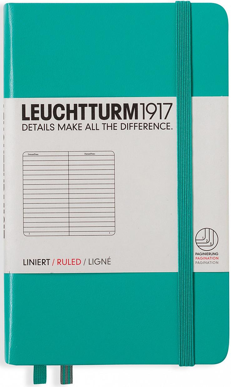 Записная книжка Leuchtturm1917, 344786, зеленый, A6 (105 x 148 мм), в линейку, 92 листа