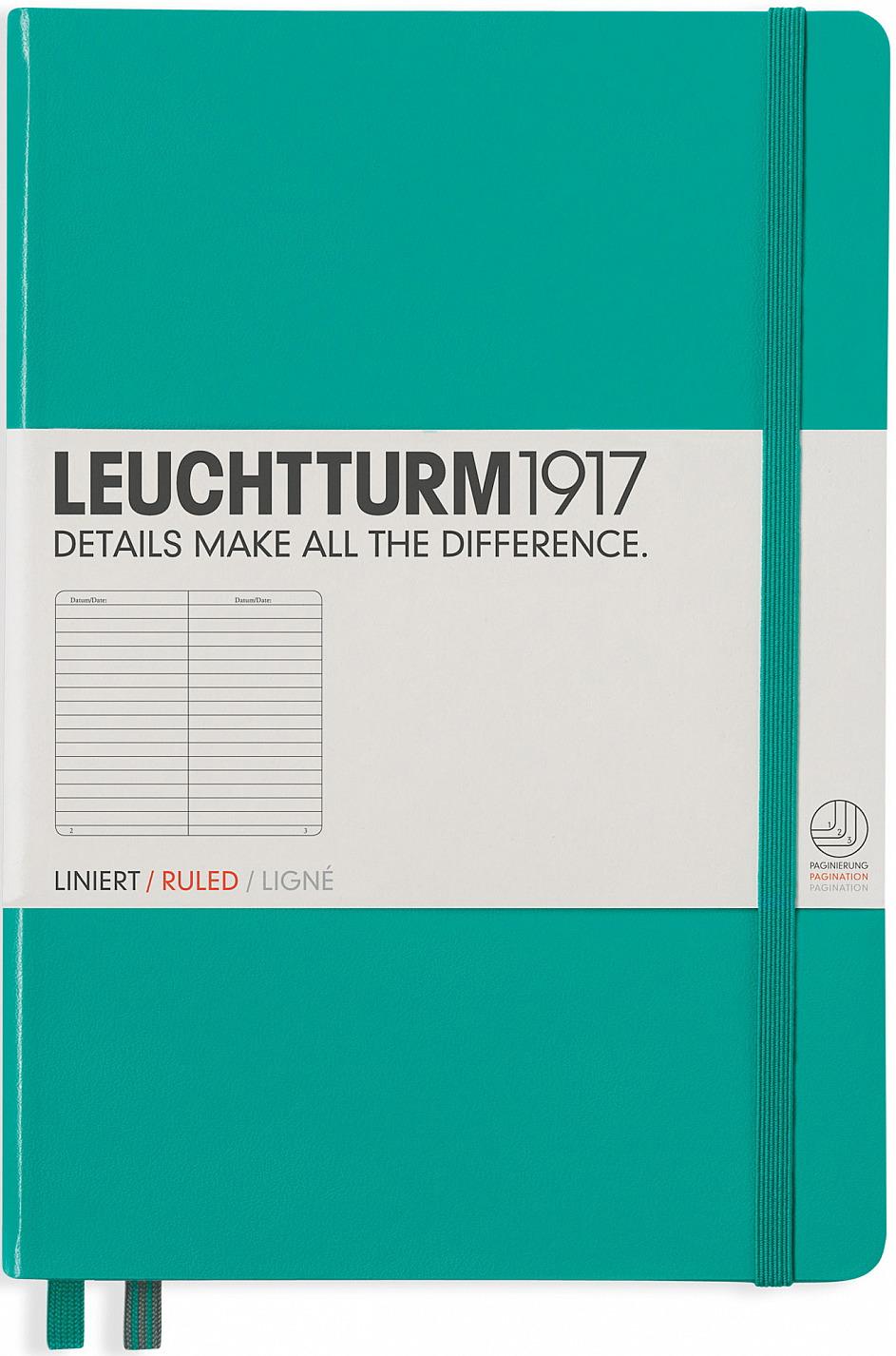 Записная книжка Leuchtturm1917, 344790, зеленый, A5 (148 x 210 мм), в линейку, 125 листов