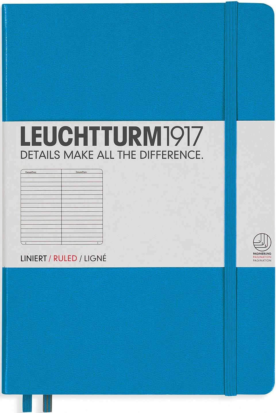Записная книжка Leuchtturm1917, 346693, лазурный, A5 (148 x 210 мм), в линейку, 125 листов