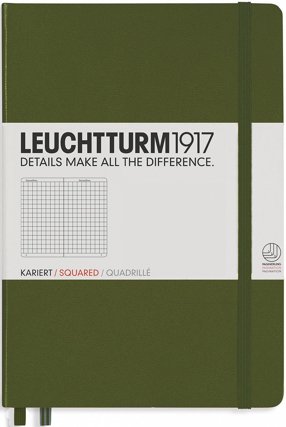 Записная книжка Leuchtturm, цвет: хаки, A5, 124 листа в клетку