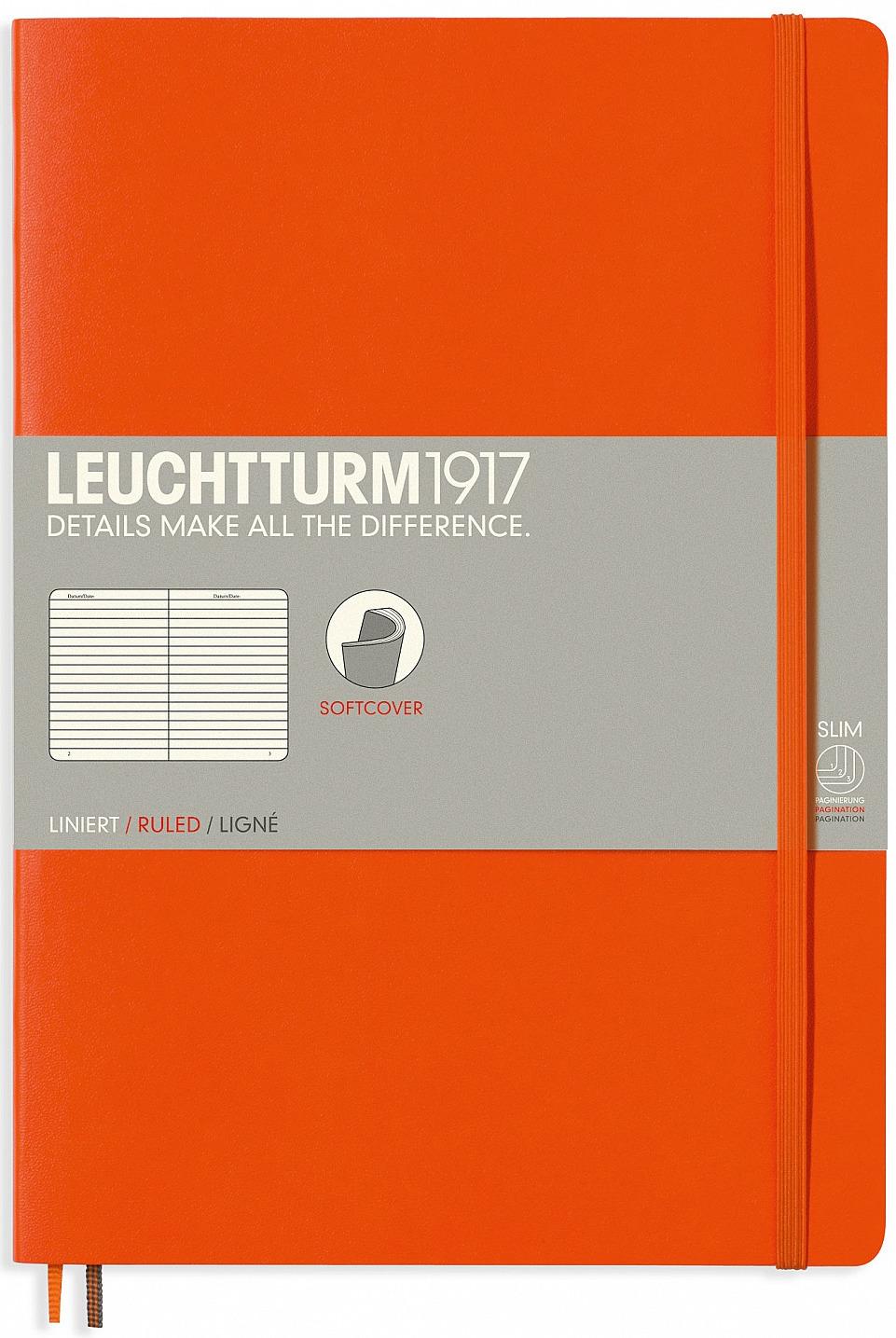 Записная книжка Leuchtturm1917, 349278, оранжевый, B5 (176 x 250 мм), в линейку, 62 листа записная книжка leuchtturm1917 357475 голубой a6 105 x 148 мм в линейку 92 листа
