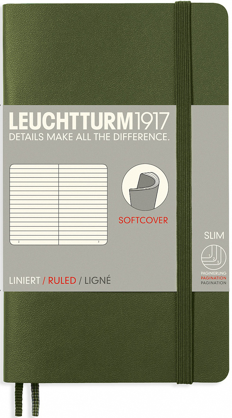 Записная книжка Leuchtturm1917, 349287, хаки, A6 (105 x 148 мм), в линейку, 60 листов