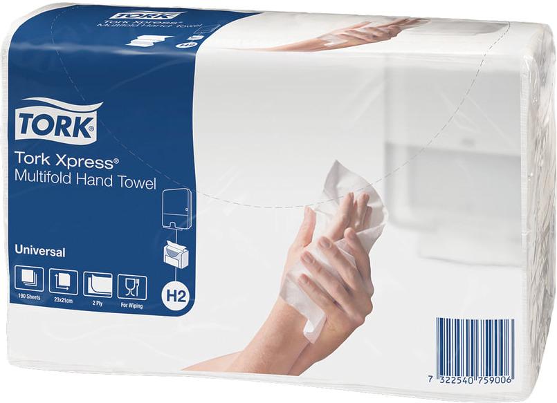 Бумажные полотенца Tork Multifold Universal, листовые, двухслойные, 471103, 23,4 х 21,3 см, 190 шт полотенца бумажные мягкий знак двухслойные цвет белый 4 рулона