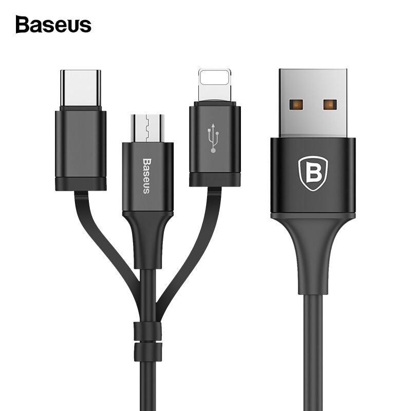 Зарядное устройство Baseus 3-в-1 Micro USB Type C зарядный кабель, черный