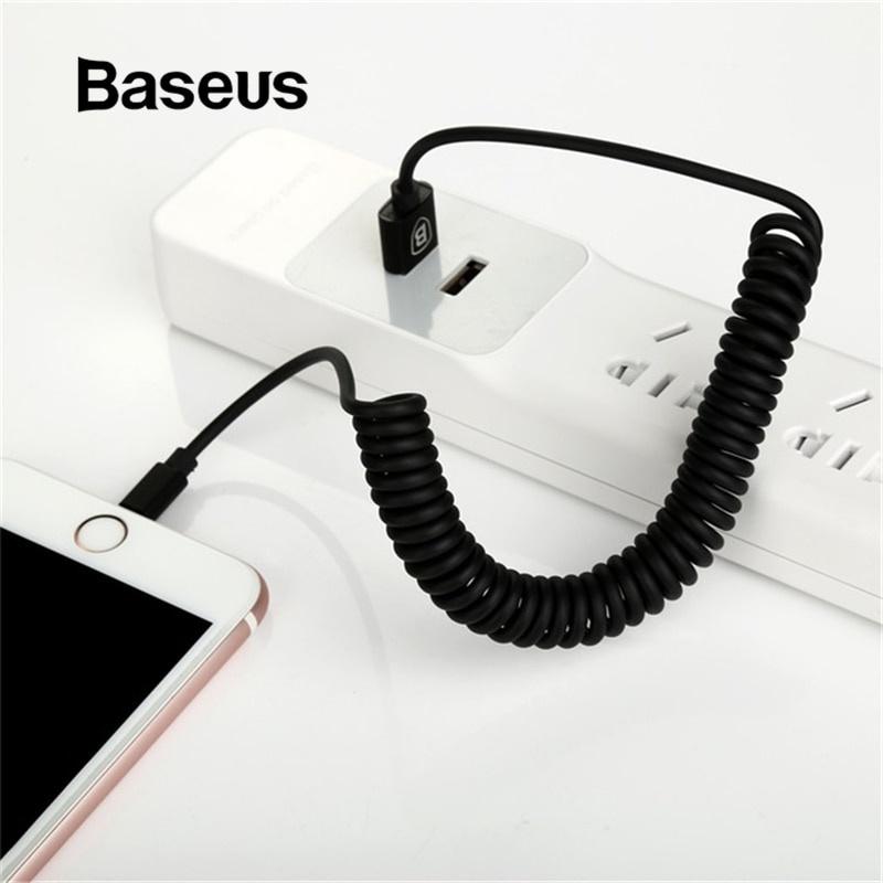 где купить Кабель Baseus втягивающийся пружинный USB-кабель для зарядки, черный дешево