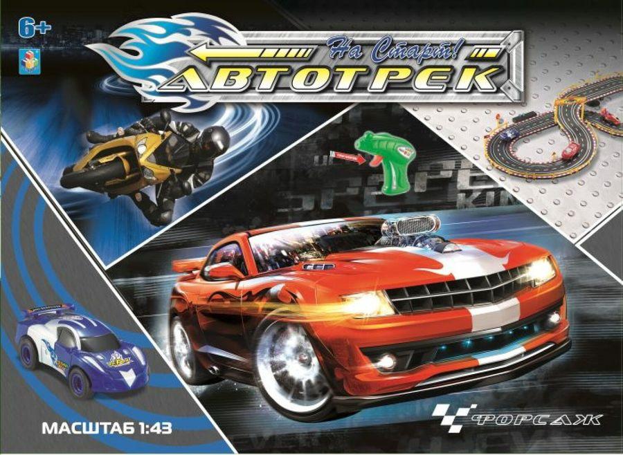 Игровой набор 1TOY Автотрек, с 2 машинками, 2 полосы движения, Т10185 carrera 62413 автотрек super formula на р у с 2 мя машинками