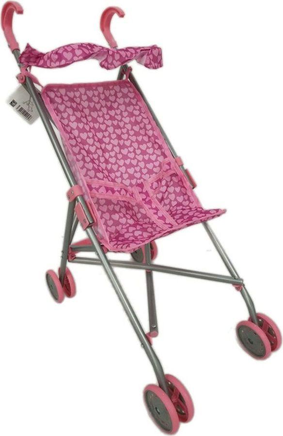 Аксессуар для кукол 1TOY Коляска-трость, Т52256, розовый, 39,5х27,5х55см