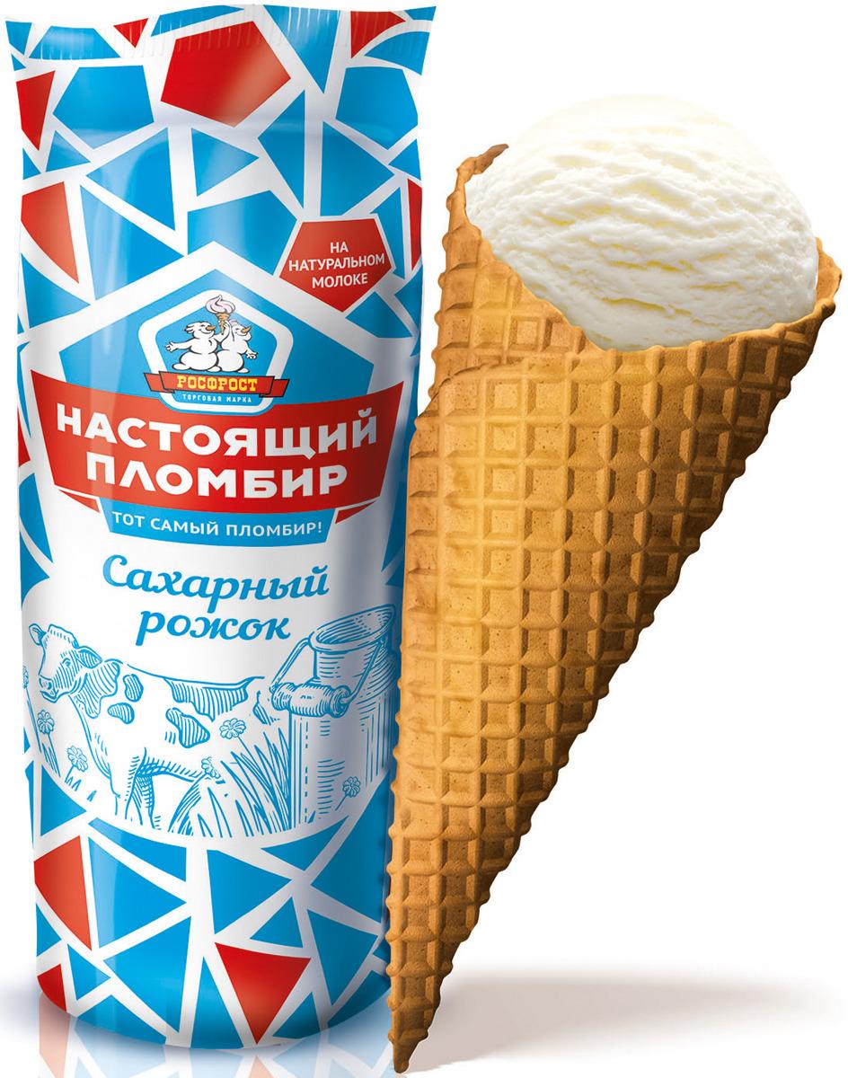 Мороженое Росфрост Настоящий пломбир, 80 г мороженое росфрост крем брюле 100 г