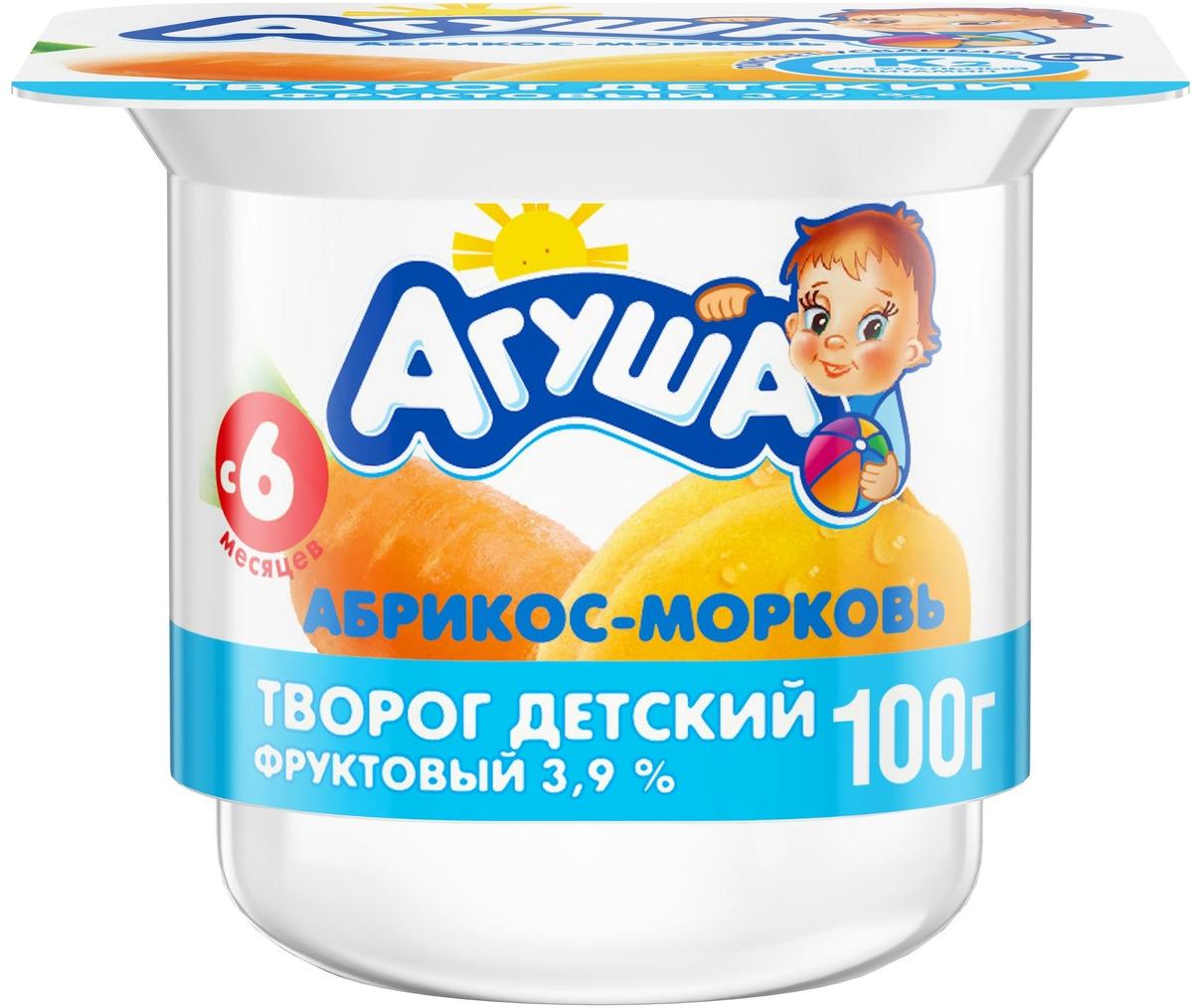 Творог фруктовый 3,9% с 6 месяцев Агуша Абрикос-Морковь, 100 г