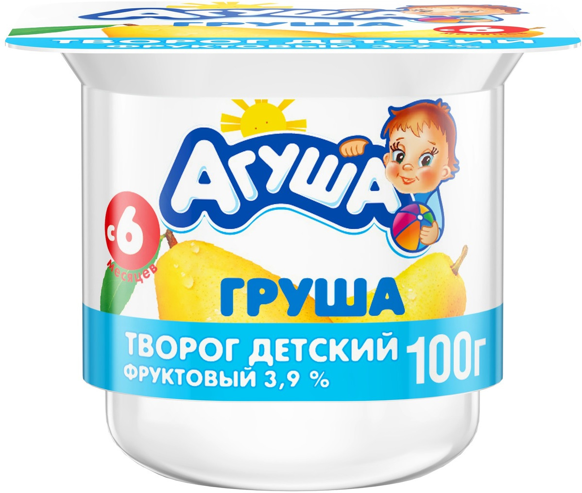 Творог фруктовый 3,9% с 6 месяцев Агуша Груша, 100 г