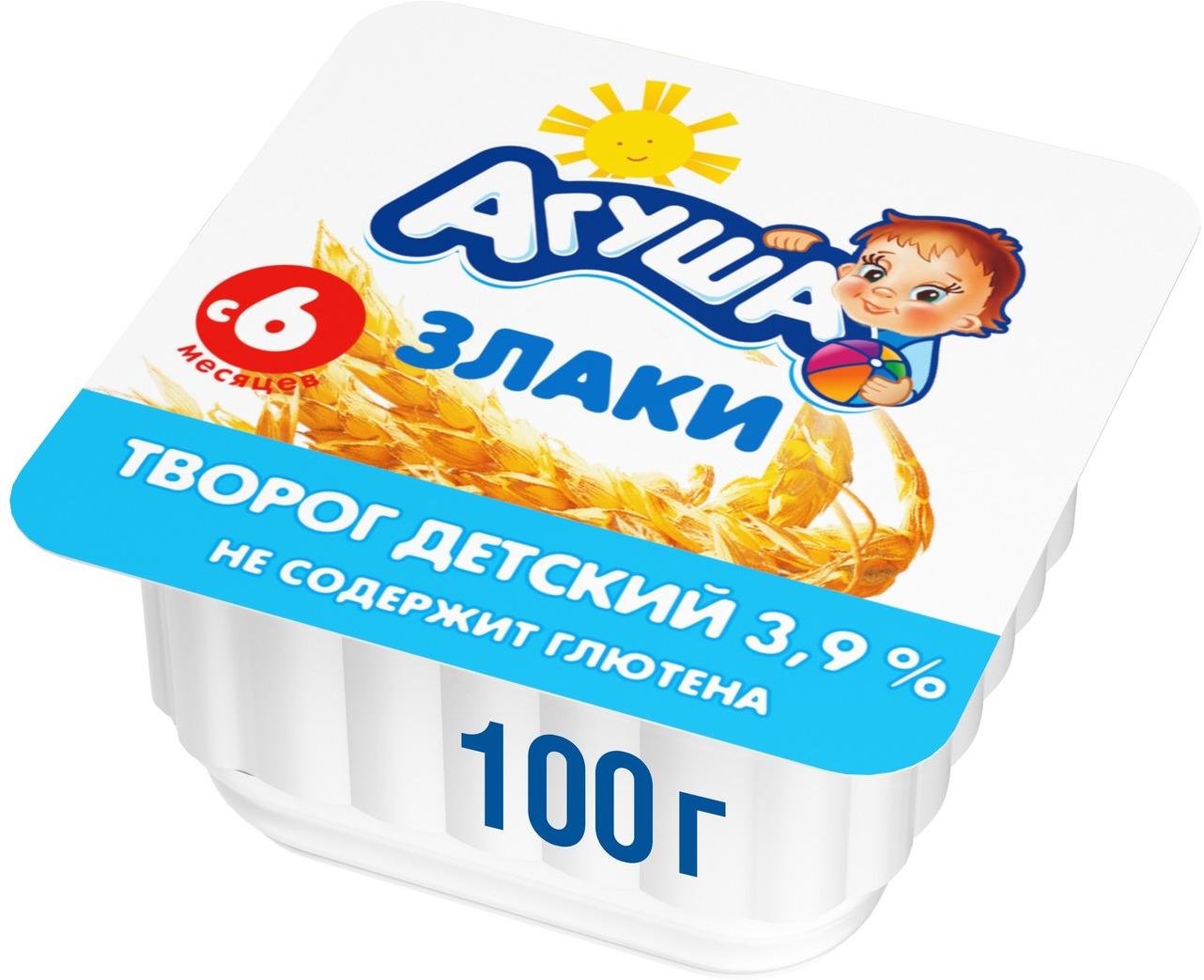 Творог фруктовый 3,9% с 6 месяцев Агуша Злаки, 100 г