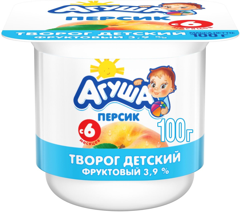 Творог фруктовый 3,9% с 6 месяцев Агуша Персик, 100 г