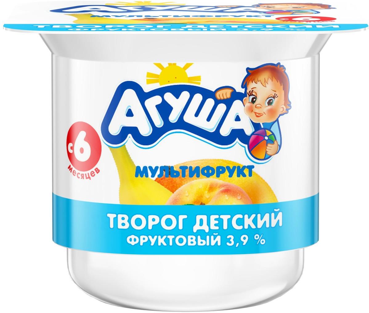 Творог фруктовый 3,9% с 6 месяцев Агуша Мультифрукт, 100 г
