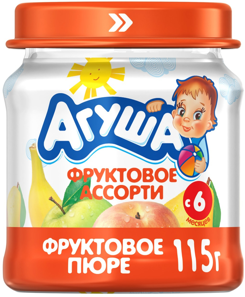 Пюре фруктовое с 6 месяцев Агуша Яблоко-Груша-Банан-Персик, 115 г