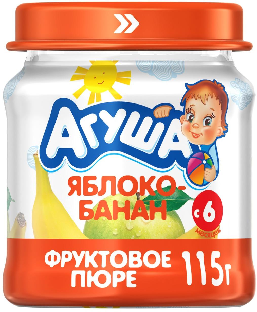 Пюре фруктовое с 6 месяцев Агуша Яблоко-Банан, 115 г