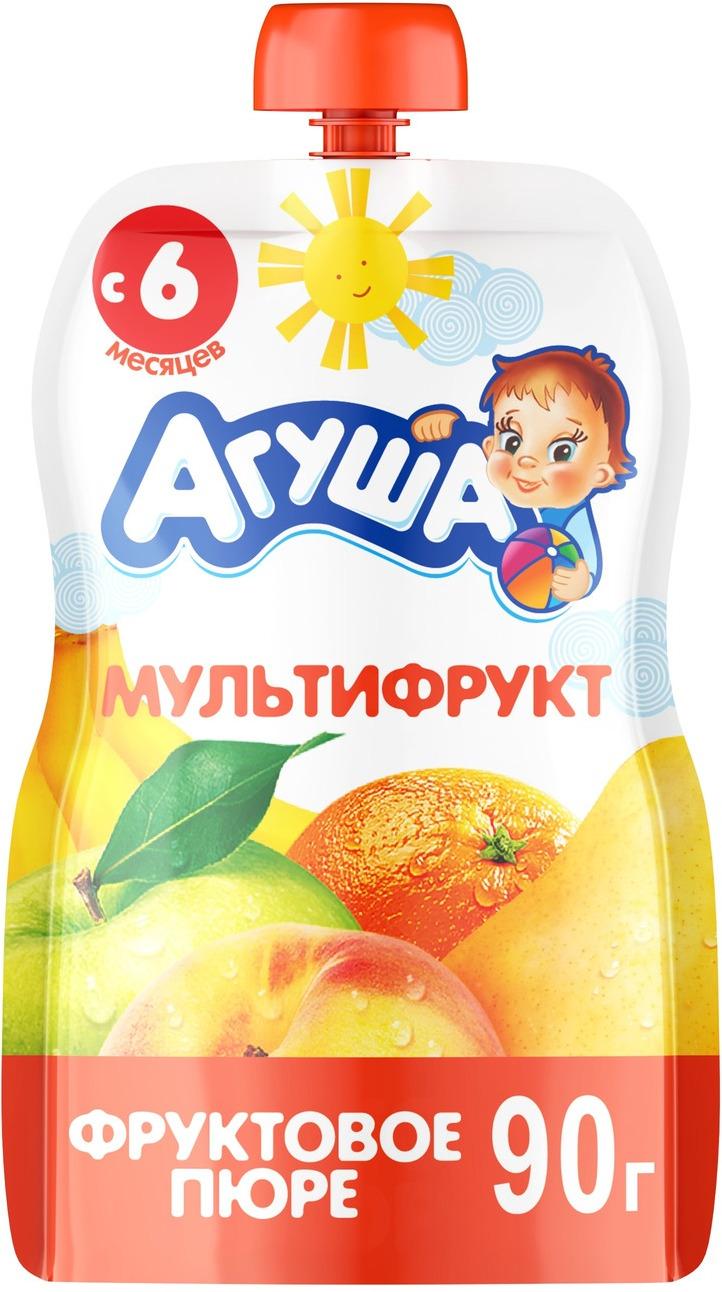 Пюре фруктовое с 6 месяцев Агуша Мультифрукт, 90 г