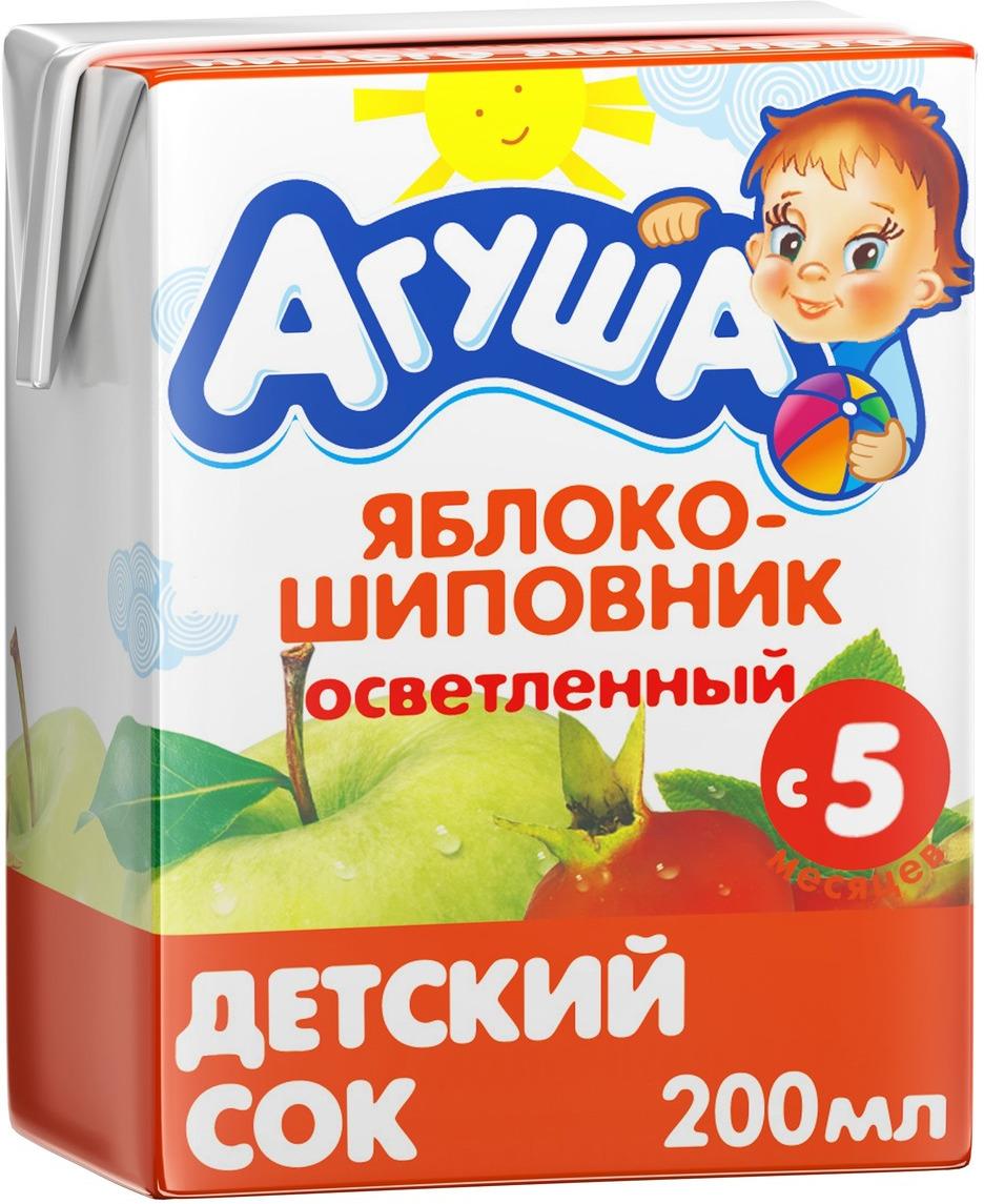 Сок Агуша Яблоко-Шиповник, с 5 месяцев, 0,2 л соки и нектары агуша агуша яблоко и шиповник с 5 мес 150 мл