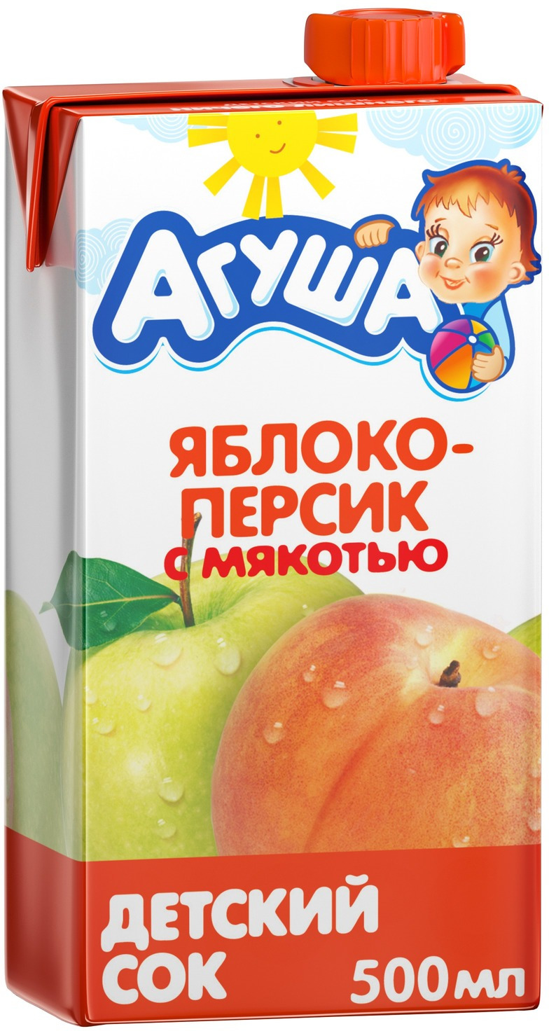 Сок Агуша Яблоко-Персик, с 3 лет, 500 мл соки и нектары агуша агуша яблоко и шиповник с 5 мес 150 мл
