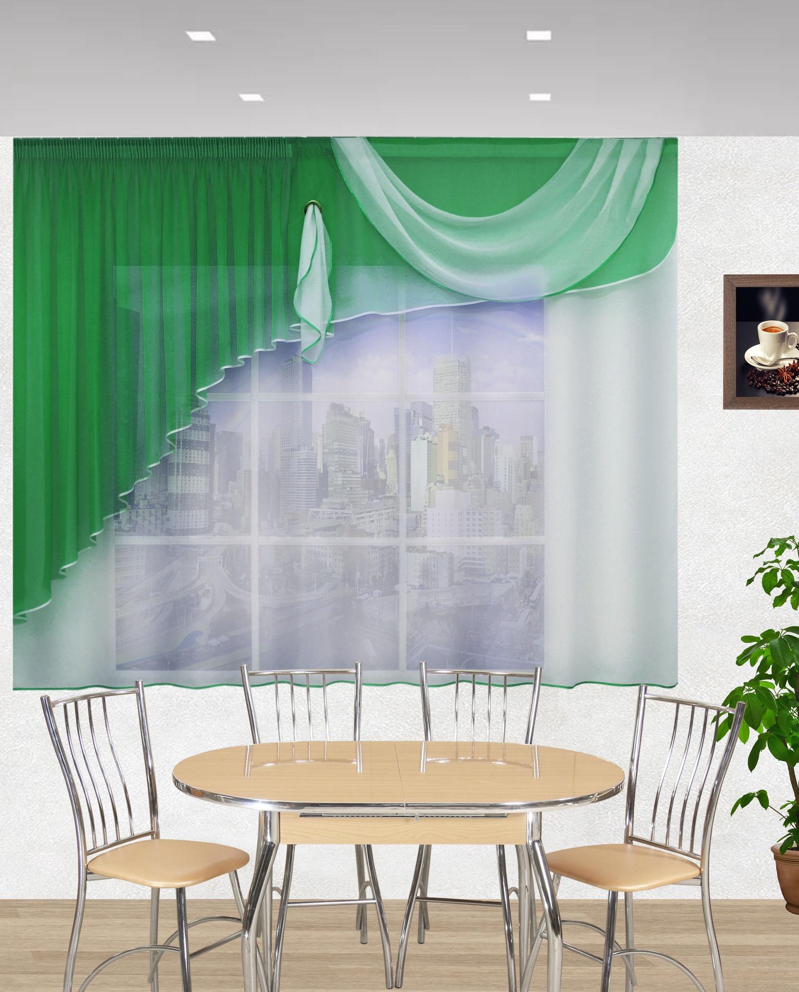 Штора для кухни Текстиль.ру ТЕК-КК-Лайма-17-0, зеленый, белый