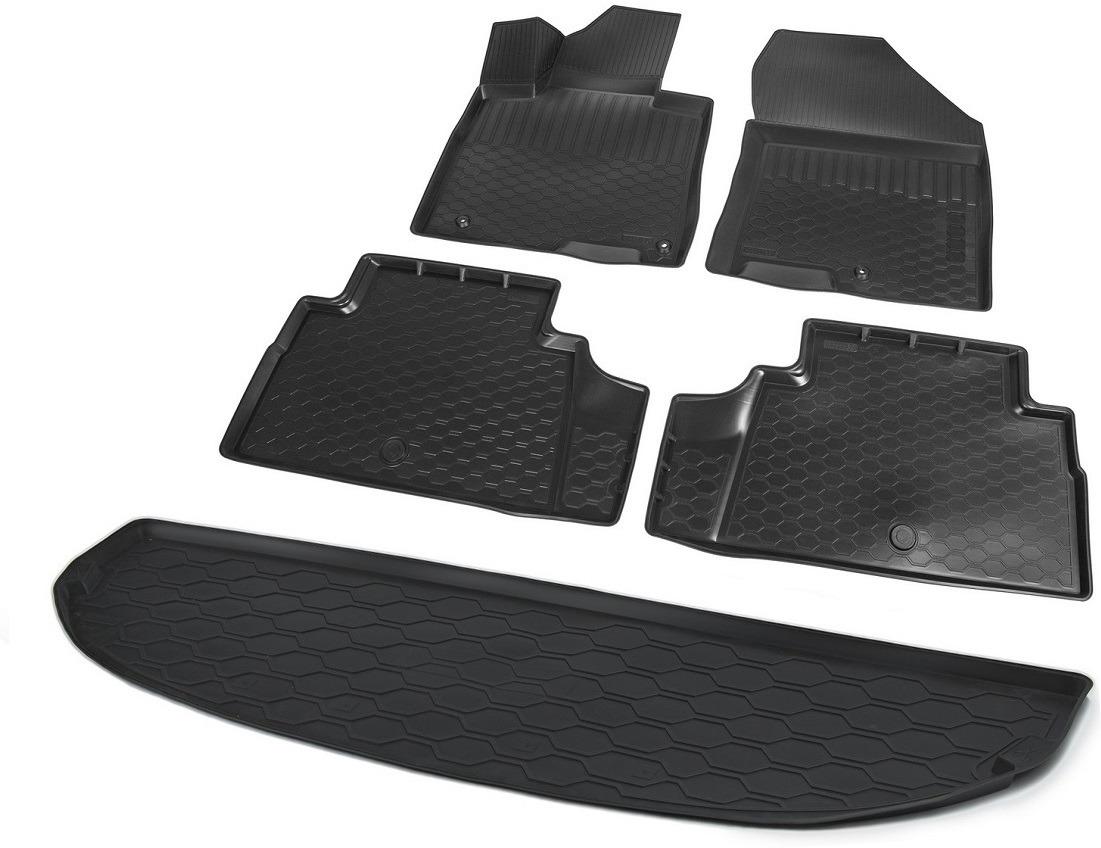 Комплект ковриков салона и багажника Rival для Hyundai Santa Fe IV 5-дв. (7 мест, разложеный 3 ряд) 2018-н.в., полиуретан, без крепежа, 5 шт. K12306008-5 коврики салона rival для toyota rav4 2013 2015 2015 н в резина 65706001