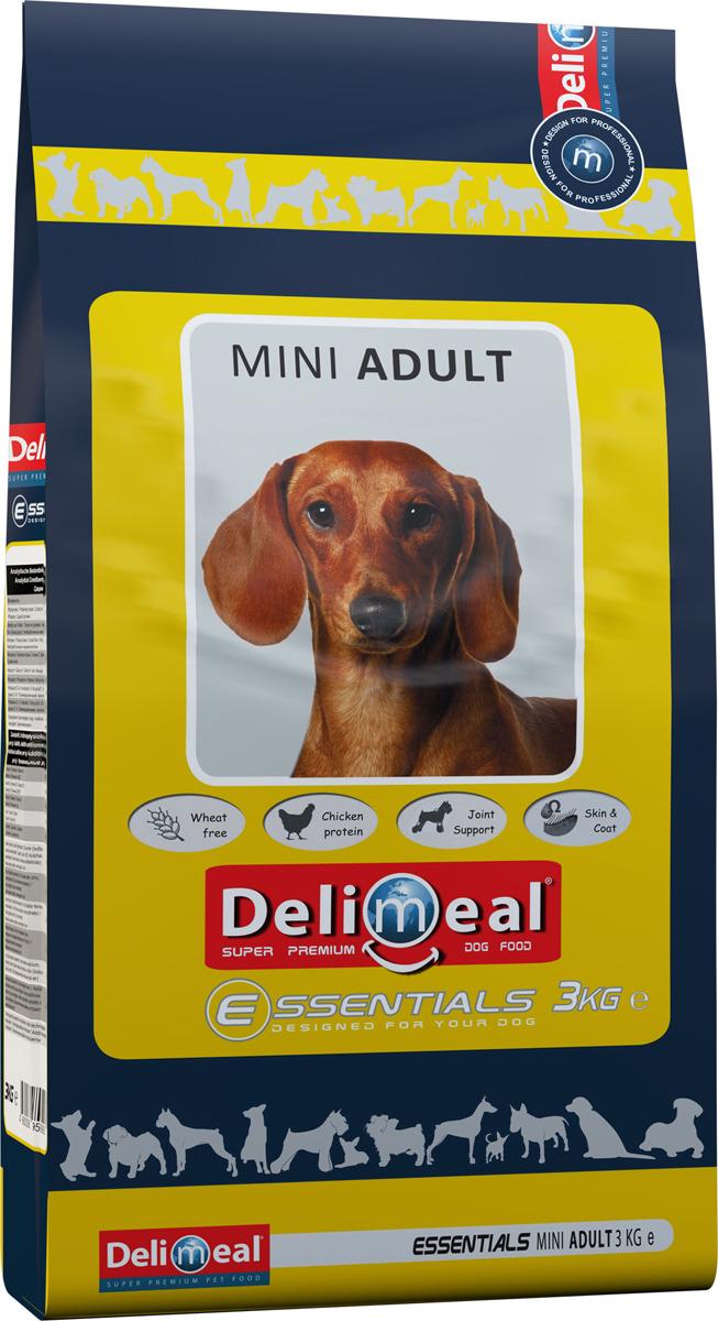Корм сухой Delimeal Essentials Mini Adult, с мясом курицы, для взрослых собак мелких и миниатюрных пород, 3 кг