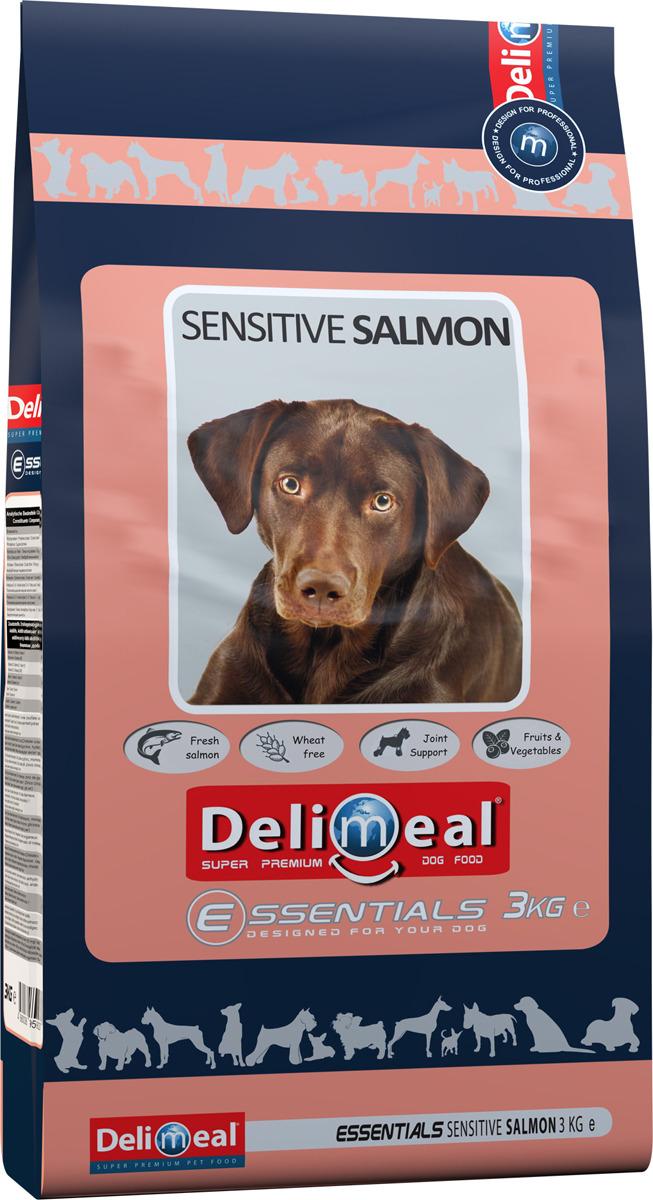 Корм сухой Delimeal Essentials Sensitive Salmon, с мясом лосося, для взрослых собак всех пород, 3 кг сухой корм для собак супер премиум класса рейтинг 2016 отзывы 5 лучших