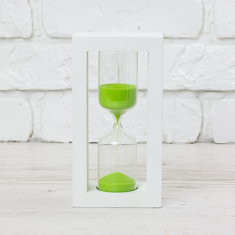 Песочные часы Часы песочные 15 мин. песок салатовый корпус белый(20х5х9см) ЧП300596 песочные часы продажа