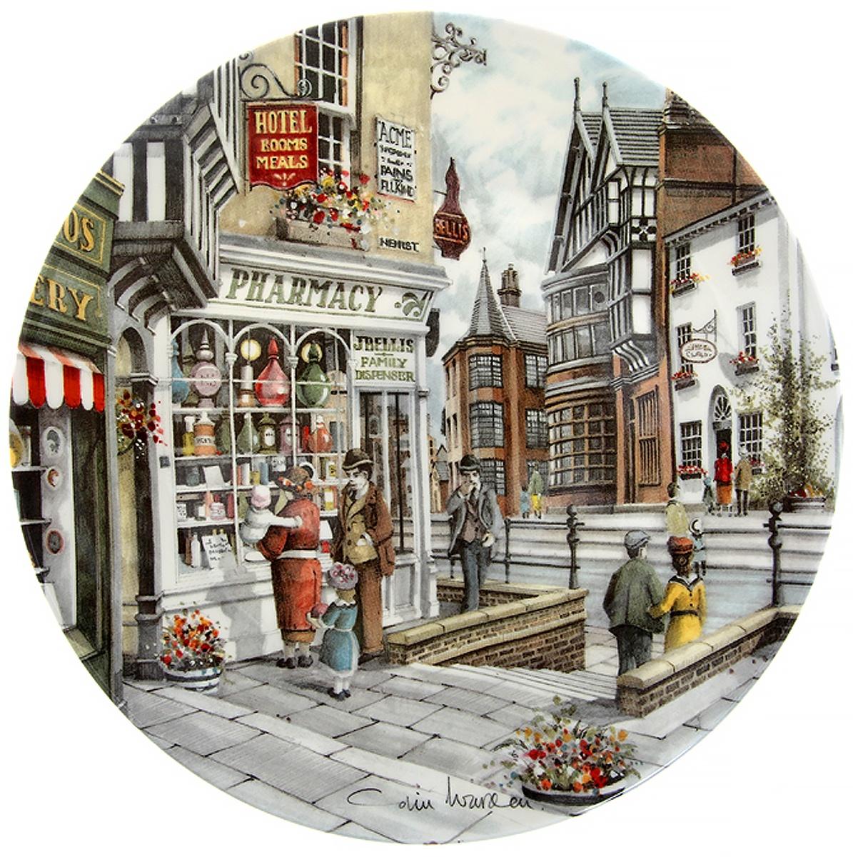 Декоративная тарелка Royal Doulton Колин Уорден Аптека, декоративная тарелка. Фарфор, деколь. Великобритания, 1990 год декоративная тарелка ketsuzan kiln гейша с зонтиком декоративная тарелка фарфор деколь япония 1990 год