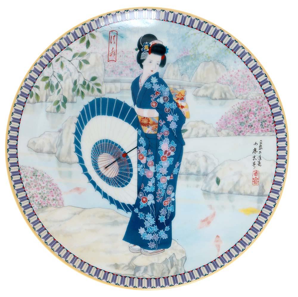 Декоративная тарелка Ketsuzan-Kiln Гейша с зонтиком, декоративная тарелка. Фарфор, деколь. Япония, 1990 год декоративная тарелка ketsuzan kiln гейша и журавли декоративная тарелка фарфор деколь япония 1990 год