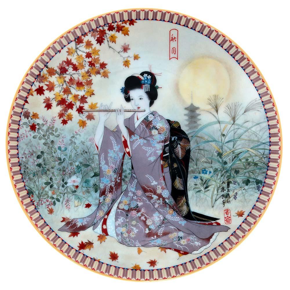 Декоративная тарелка Ketsuzan-Kiln Гейша с флейтой, декоративная тарелка. Фарфор, деколь. Япония, 1990 год декоративная тарелка ketsuzan kiln гейша и журавли декоративная тарелка фарфор деколь япония 1990 год