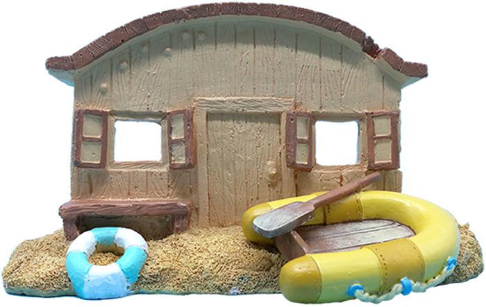 Грот для аквариума Meijing Aquarium Домик у воды, AD031, коричневый, 18 х 8,5 10 см