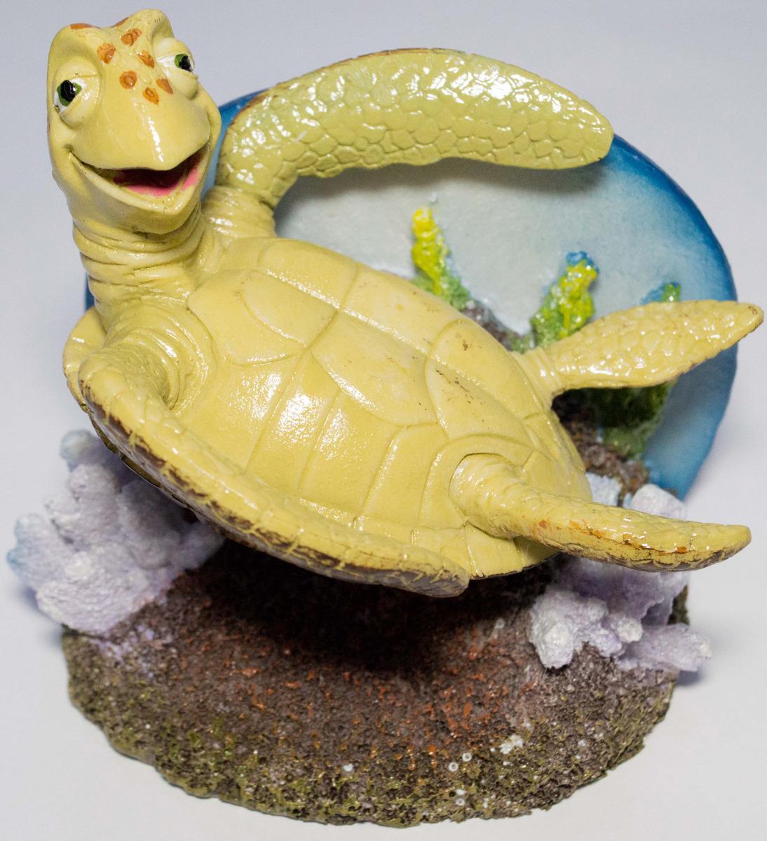 Декорация для аквариума Penn Plax Черепашка, NMR6, желтый, 12 см декорация для аквариума penn plax губка боб и патрик в каноэ 7 см