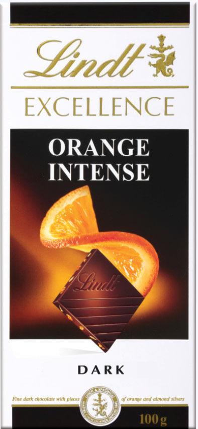 Lindt Excellence темный шоколад с кусочками апельсина и миндаля, 100 г шоколад lindt excellence малина 100г