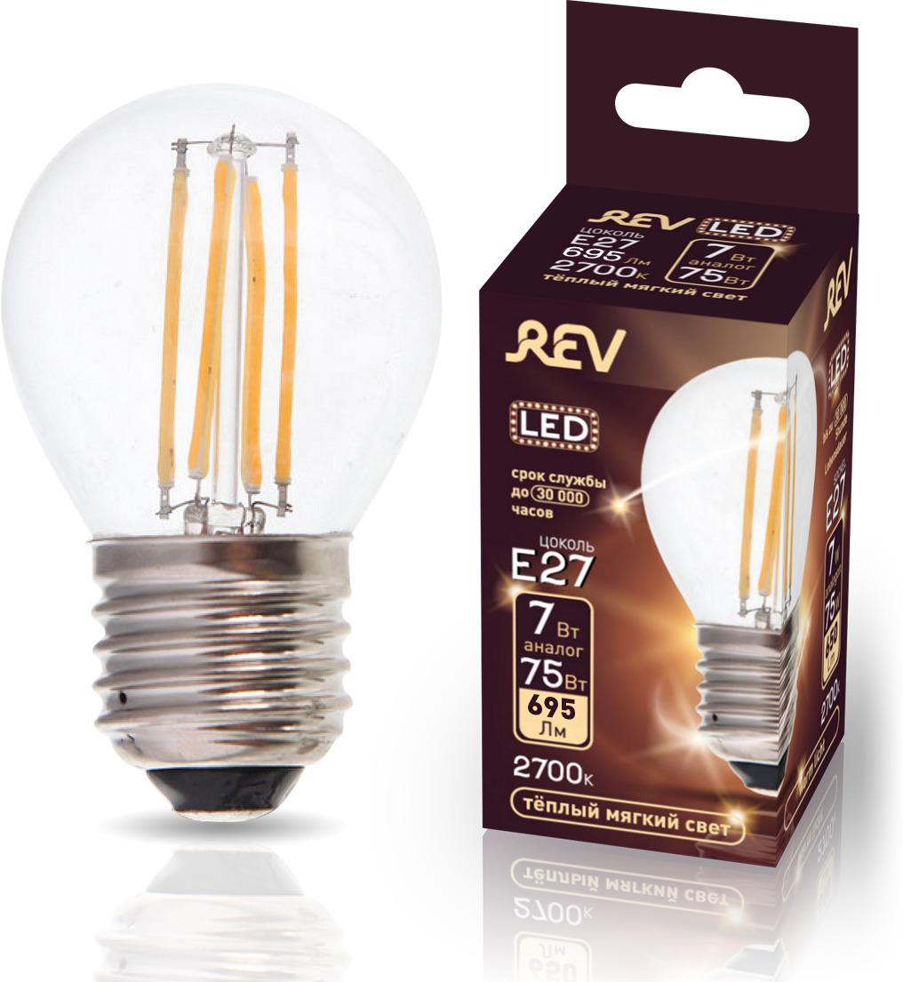 Лампа светодиодная REV Filament, G45, теплый свет, цоколь Е27, 7 Вт. 32443 0 лампа светодиодная smartbuy g45 теплый свет цоколь е27 7 вт