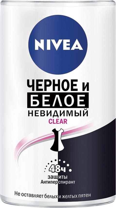 Антиперспирант шарик Nivea Невидимая защита для черного и белого, Clear, 50 мл nivea антиперспирант спрей невидимый для черного и белого fresh