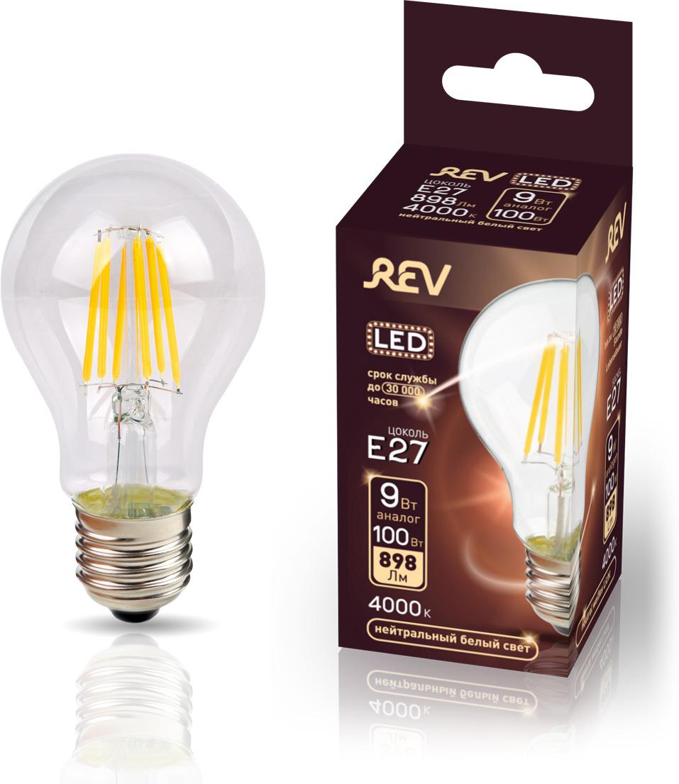 Лампа светодиодная REV Deco Premium Filament A60, 32476 8, холодный свет, цоколь E27, 9 Вт лампа светодиодная rev deco premium filament a60 32475 1 теплый свет цоколь e27 9 вт