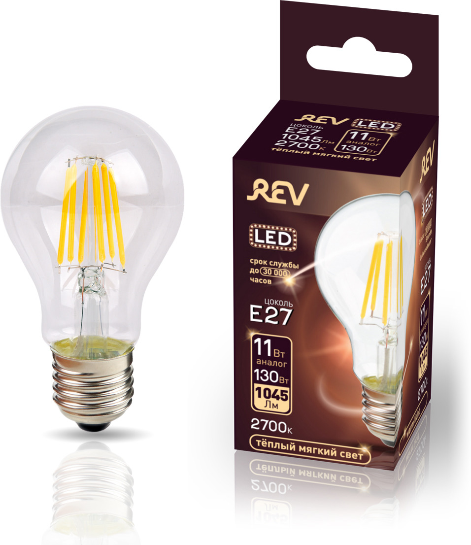 Лампа светодиодная REV Deco Premium Filament A60, 32477 5, теплый свет, цоколь E27, 11 Вт лампа светодиодная rev deco premium filament a60 32475 1 теплый свет цоколь e27 9 вт