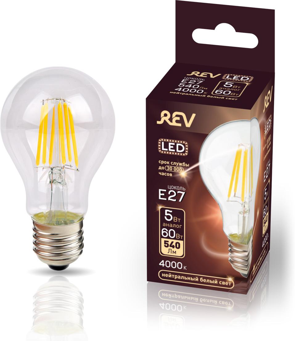 Лампа светодиодная REV Deco Premium Filament A60, 32481 2, холодный свет, цоколь E27, 5 Вт лампа светодиодная rev deco premium filament с37 32487 4 холодный свет цоколь e14 7 вт