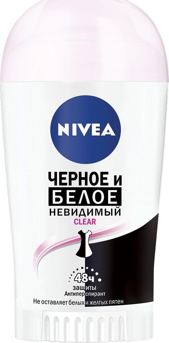 Антиперспирант стик Nivea Невидимая защита для черного и белого, Clear, 40 мл nivea антиперспирант спрей невидимый для черного и белого fresh