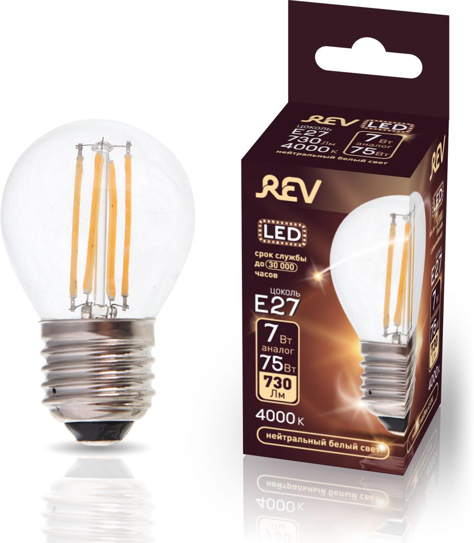 Лампа светодиодная REV Deco Premium Filament G45, 32485 0, холодный свет, цоколь E27, 7 Вт лампа светодиодная rev deco premium filament a60 32475 1 теплый свет цоколь e27 9 вт