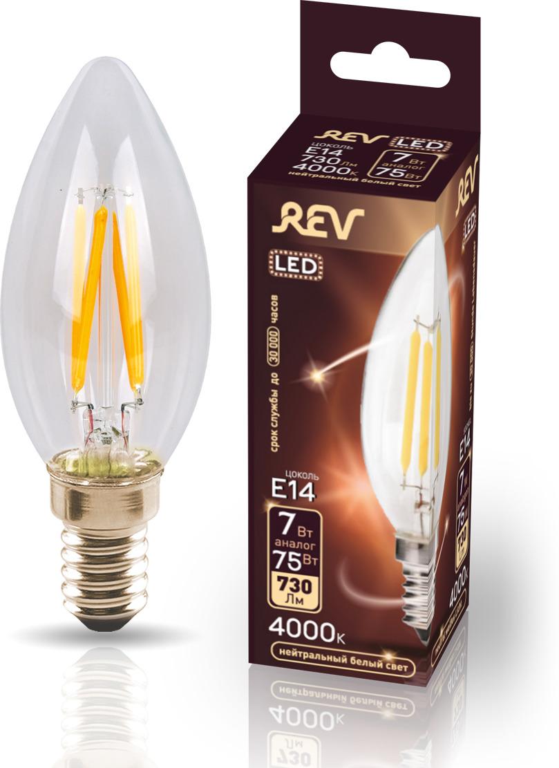 Лампа светодиодная REV Deco Premium Filament С37, 32487 4, холодный свет, цоколь E14, 7 Вт лампа светодиодная rev deco premium filament с37 32487 4 холодный свет цоколь e14 7 вт