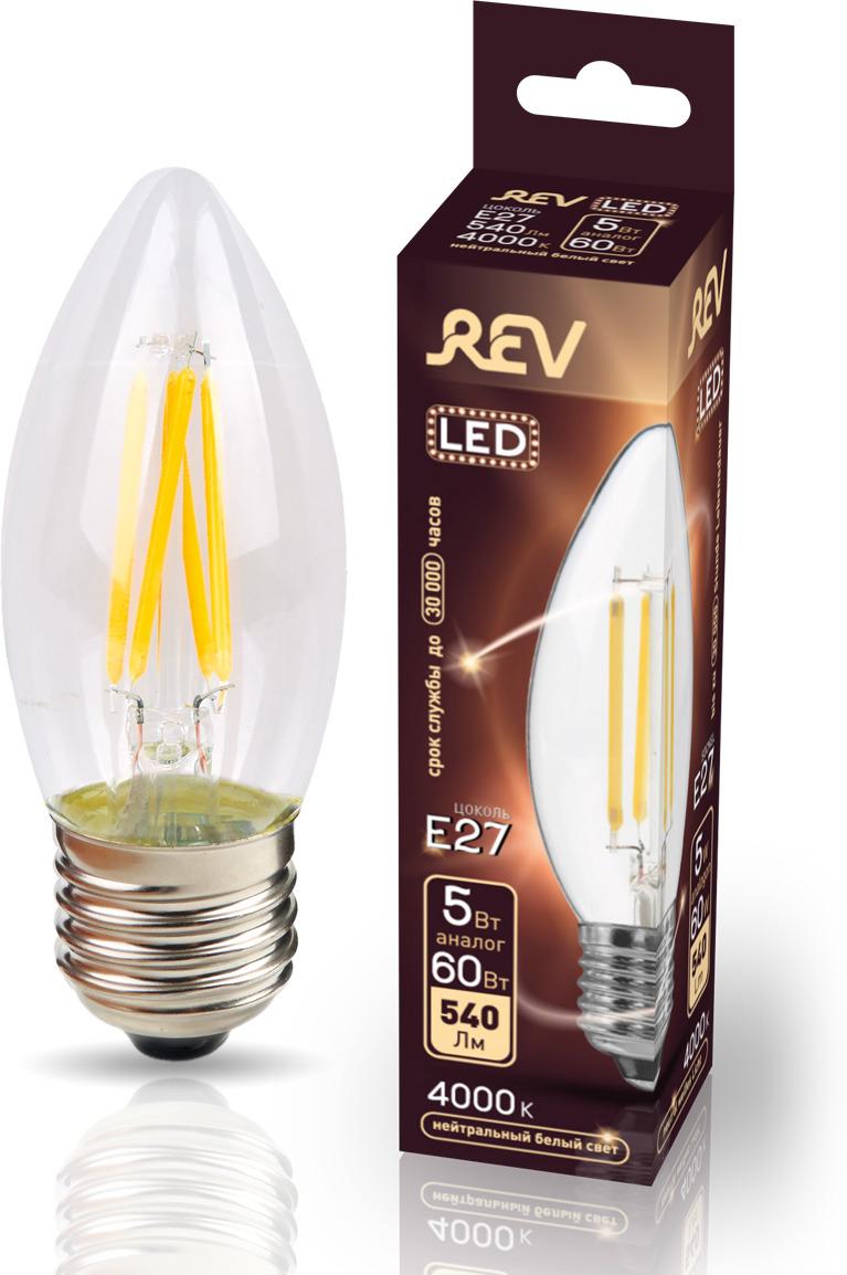 Лампа светодиодная REV Deco Premium Filament С37, 32488 1, холодный свет, цоколь E27, 5 Вт лампа светодиодная rev deco premium filament a60 32475 1 теплый свет цоколь e27 9 вт