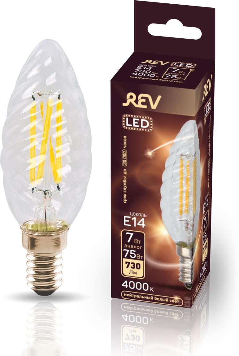 Лампа светодиодная REV Deco Premium Filament TC37, 32493 5, холодный свет, цоколь E14, 7 Вт лампа светодиодная rev deco premium filament с37 32487 4 холодный свет цоколь e14 7 вт