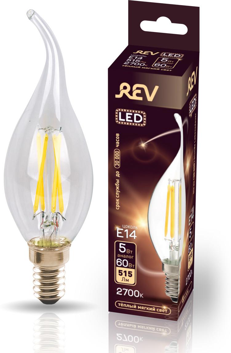 Лампа светодиодная REV Deco Premium Filament FC37, 32494 2, теплый свет, цоколь E14, 5 Вт лампа светодиодная rev deco premium filament a60 32475 1 теплый свет цоколь e27 9 вт