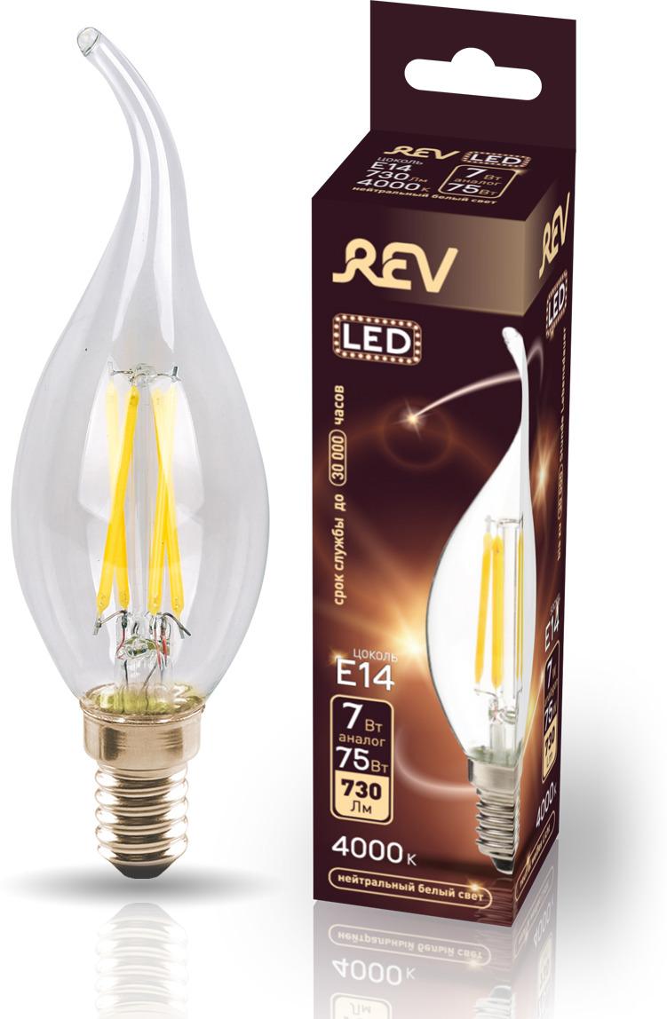 Лампа светодиодная REV Deco Premium Filament FC37, 32496 6, холодный свет, цоколь E14, 7 Вт лампа светодиодная rev deco premium filament с37 32487 4 холодный свет цоколь e14 7 вт