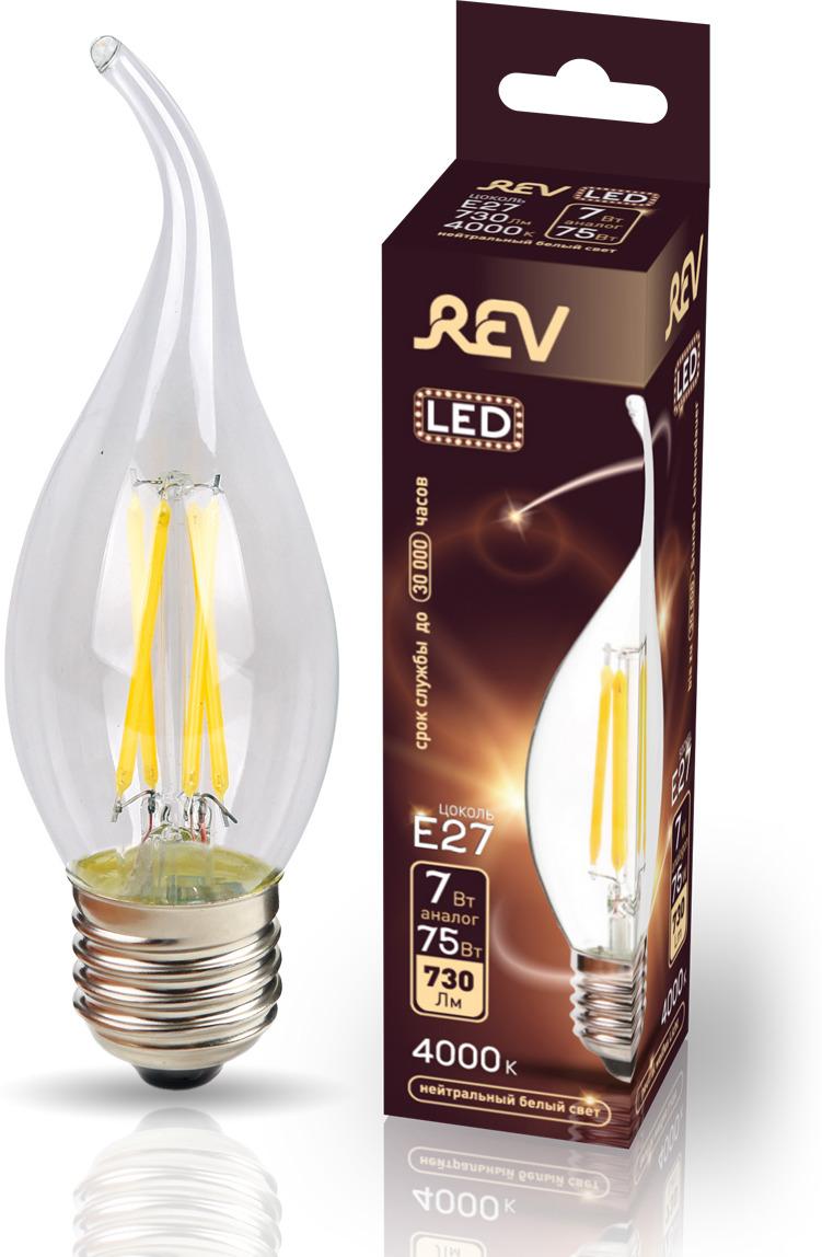 Лампа светодиодная REV Deco Premium Filament FC37, 32498 0, холодный свет, цоколь E27, 7 Вт лампа светодиодная rev deco premium filament с37 32487 4 холодный свет цоколь e14 7 вт