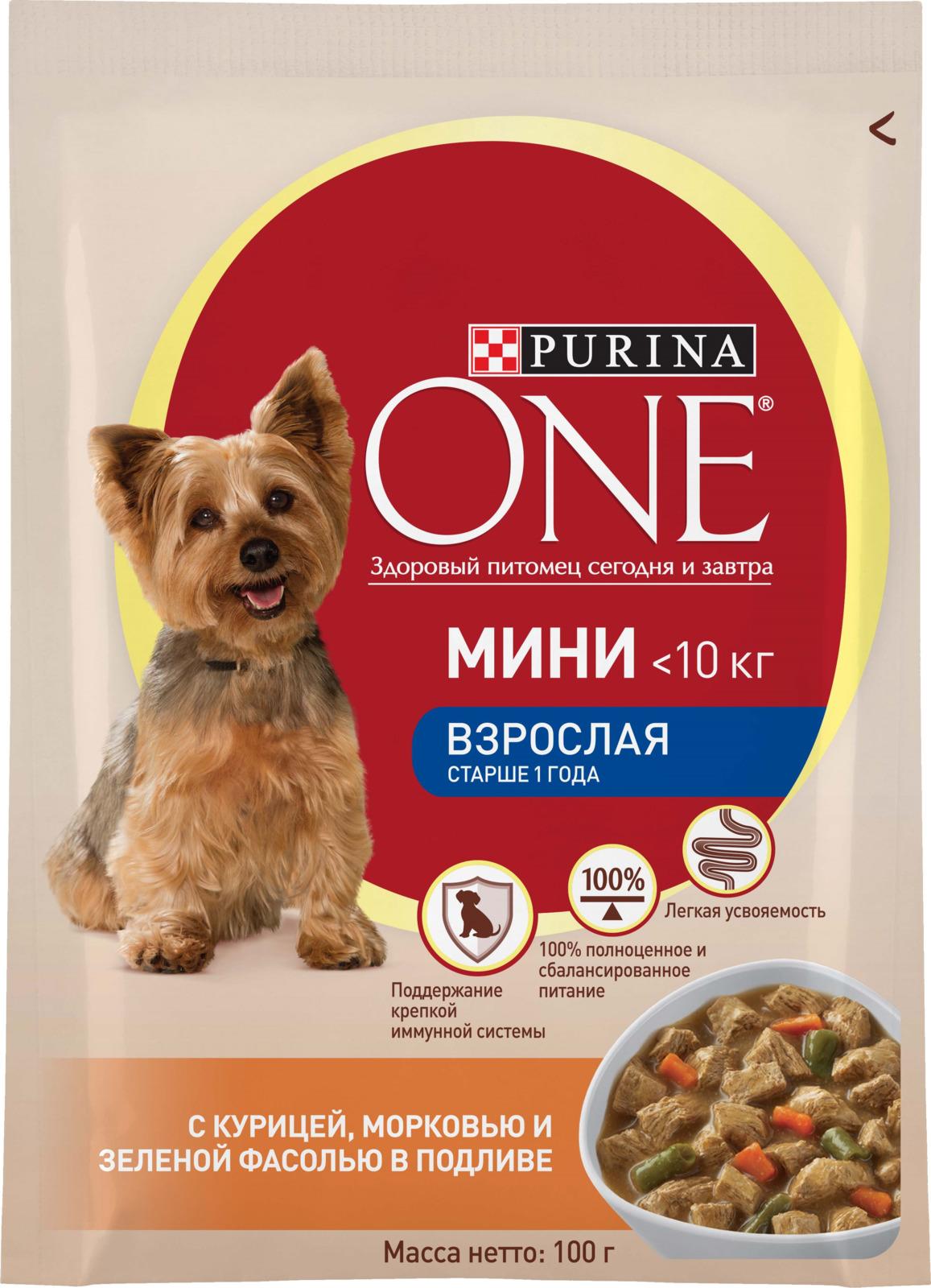 """Корм консервированный Purina One Мини """"Моя Собака...Уже взрослая"""", для взрослых собак мелких пород старше одного года, с курицей, морковью и зеленой фасолью в подливе, 100 г"""