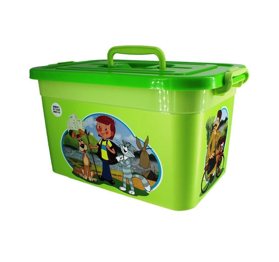 Детский контейнер (ящик, коробка, короб, пластик) для хранения игрушек и вещей, 35,5х23,5х19 см, Союзмультфильм, 10 литров, зеленый, пластмассовый, Полимербыт